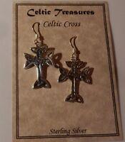 Sterling silver Celtic Cross, Iona cross Irish cross earrings