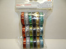 GLITTER RIBBON PACK 18 PC. CHRISTMAS HOLIDAY COLORS CARDS SCRAPBOOK
