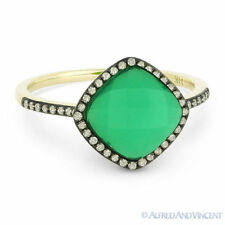2.36 ct Green Agate & White Topaz Doublet Diamond Halo 14k Yellow Gold Pave Ring