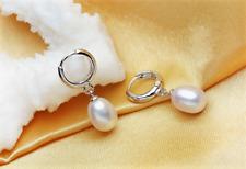 Damen Ohrringe Creole 925 Sterling Silber Süßwasser Perle Rhodiniert Hochglanz