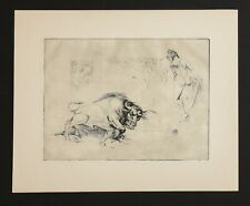 Vintage Etching print on paper. Bull, woman, world ... #2