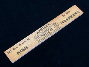 Vintage Bartlett Music Co Advertising Ruler Los Angeles History Wurlitzer 1920s