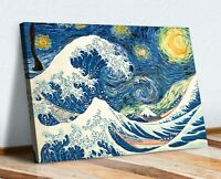 Hokusai Great Wave Van Gogh Starry Night CANVAS WALL ART CANVAS ARTWORK PRINT
