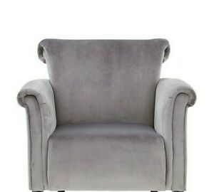 Fabric Velvet Grey /Silver Accent Armchair Sofa Lounge Chair Living Bedroom