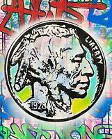 """Dean Russo Art Original Artwork on Vinyl Buffalo Nickel 16x20"""" Graffiti POP Art"""