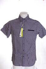 Para Hombre Azul Marino Mini Foulard Manga Corta Camisa De Algodón Talla M RRP £ 14,99 BNWT