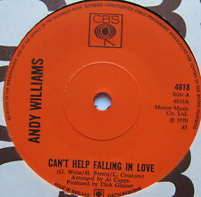 "ANDY WILLIAMS - Can't Help Falling In Love - Excellent Con 7"" Single CBS 4818"