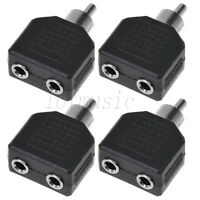 "4 Pcs RCA Male Plug to Dual 3.5mm 1/8"" Stereo Female Jack Splitter Audio Adapter"