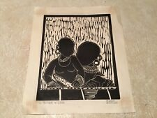 RARE African American Wood Block Print-Pencil Signed Mother and Child 1967 Lot