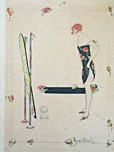 Antique 1920's art deco ink drawing, woman, fashion, painting