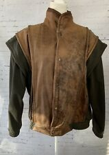 Vintage Adventure Bound Men XL Leather Jacket Removable Sleeves Vest Snap Bomber