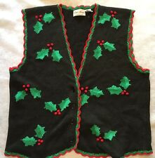 WOMEN'S FAITH MOUNTAIN SIZE LARGE COTTON KNIT CHRISTMAS VEST HOLLY AND BERRIES