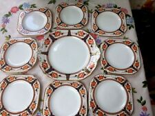 Set of 8 Vintage Tuscan ChIna Imari Tea Plates & 1 Cake Plate Hand Painted