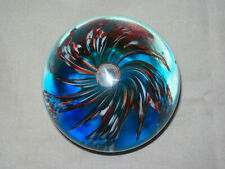 VINTAGE GLASS RED & WHITE FLOWER SWIRL, BLUE BASE, GROUND BASE, PAPERWEIGHT
