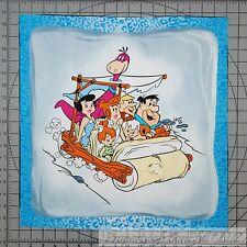 BonEful Fabric Cotton Quilt VTG Pillow Panel Flinstones Dino Cartoon Barney Fred