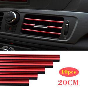 10x 20 cm Red Air Conditioner Air Outlet Decor Bright Strip Car Accessories Trim