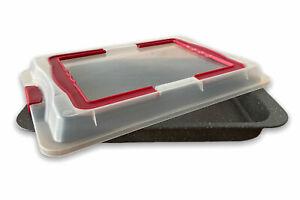 Backform Antihaft 2in1 Backblech Bratform Kuchenblech mit Kunststoffhaube