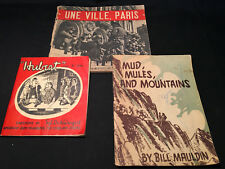 Old Vtg Books Mud, Mules and Mountains, Hubert Since D Day, Une Ville Paris