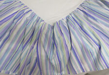 POTTERY BARN KIDS Purple Green Blue White Striped DOUBLE Cotton Bed Skirt Ruffle
