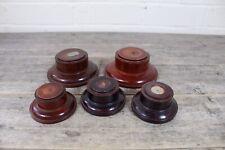 Five Vintage Turned Wooden Circular Trophy Display Plinth Stands.