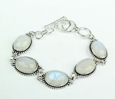 .925 STERLING SILVER PLATED MOONSTONE FASHION JEWELRY BRACELET