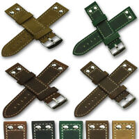 Mens Genuine Quality Leather Watch Strap Crazy Horse Rivet Band green tan brown