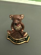 Vintage Teddy Bear Cast Iron Door Stop Wedge  Hand Painted Collectible Toy Rare