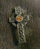 VINTAGE Scottish Celtic Cross Brooch Pin orange Glass Stones