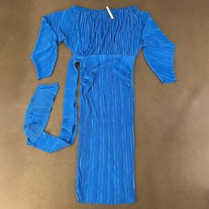 ASOS Maternity Women's Size 2 Blue Long Sleeve Ribbed Belted Bodycon Dress NWT