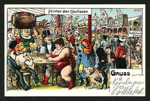 German 1929 CIRCUS Sideshow Lunch FAT LADY Clowns PINHEAD Strongman VOLKSFEST