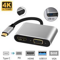 TypeC Hub Adapter To HDMI/VGA/USB/USB-C 4in1 4K Audio Converter For Macbook