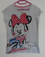 T SHIRT GRIS PALE. DECOR MINNIE. DISNEY. TAILLE 16 ANS