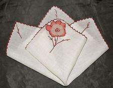 Vintage handkerchief HANKY embroidery APPLIED FLOWER hanky UNIQUE DESIGN fab