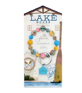 NEW JILZARAH Handmade Clay Beads LAKE HOUSE CABIN FLOWER 10mm Wrist Keychain