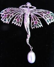 Christmas Angel Fairy Brooch Pendant Ruby Sterling Silver Plique a Jour