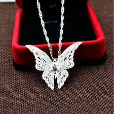 Silver Plated Hollow Necklace Women Chain New Butterfly Pendant Present Gift