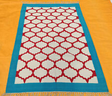 Hand Woven Cotton Rug Turkish Kilim Dhurrie Afghan Oriental Area Rug 4'X6' ft