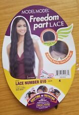 Womens Adult Freedom Part Lace front Synthetic Wig Dark Brown Deep Wave NWT