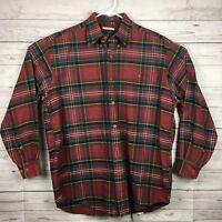 Orvis Red Plaid Cotton Long Sleeve Shirt Button Front Pocket Men's Medium M