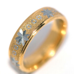 Carved Mens Womens Band Ring Stainless Steel Gold Rings Man Jewelry Size 9