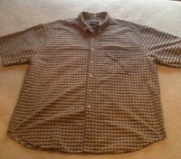 Eddie Bauer Men's Plaid Shirt S XL Blue Grey White S/S Button Down Front Pocket