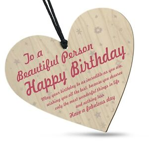 Happy Birthday To A Beautiful Person Wooden Heart Love Plaque Perfect Gift