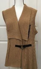 Chaps Womens Cable Knit Sweater Camel Light Brown Sleeveless Size XL 100% Cotton
