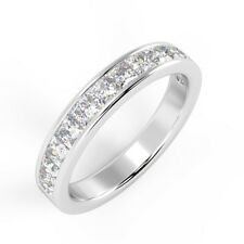 1Ct Princess Diamond Channel Set Half Eternity Ring in Platinum