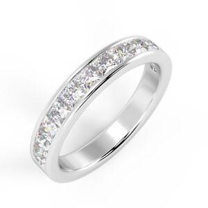 1Ct Princess Diamond Channel Set Half Eternity Ring in Platinum