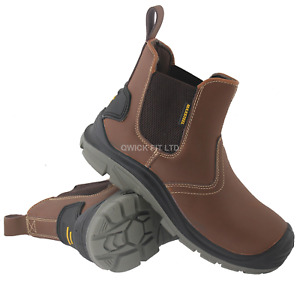 MENS LEATHER CHELSEA SAFETY BOOTS DEALER SLIP ON STEEL TOE CAP WORK SHOES SIZE