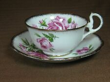Royal Standard Bone China Orleans Rose Cup and Saucer Pink Roses Gold Trim