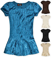 Girls Velvet Peplum T Shirt New Kids Short Sleeved Party Top Age 7-13 Years