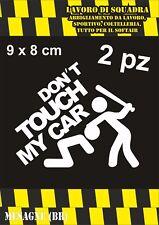 2 adesivi DON'T TOUCH MY CAR 9x8cm auto coppia sticker ritagliato adesivo BIANCO