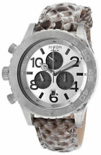 Nixon A037843 42-20 Chrono White Snake Leather Band Stainless Steel Case Watch